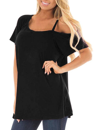 One off shoulder Slanted shoulder strap short sleeve T-shirts
