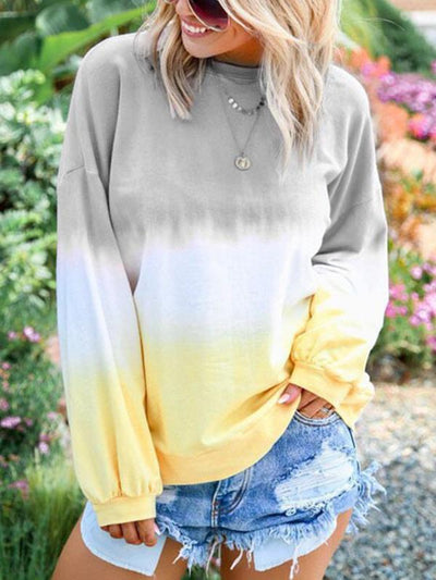 Rainbow printed long sleeve round neck sweatshirts
