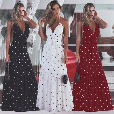 Sexy v-neck neckband backless gown wave pot maxi dresses