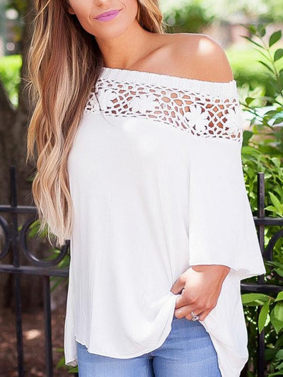 Lace patchwork slanted collar one off shoulder T-shirt
