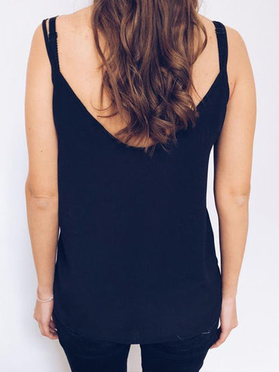 Women Sexy Basic hollow out V neck Vests Top