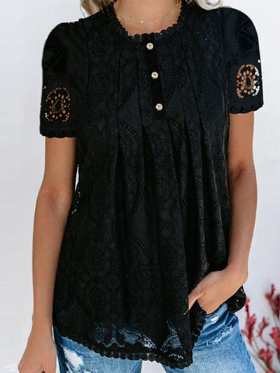 Round Neck Decorative Lace Single Breasted Lace Blouses
