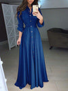 Plus Size Solid Woman Long Sleeve Button Tie Long Maxi Dresses