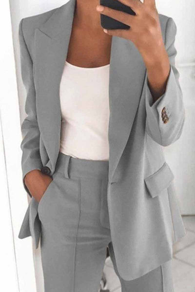 Two-Piece Fashion Lapel Slim Cardigan Blazer