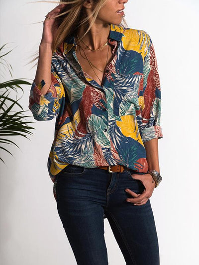 Spring Fashion Turn Down Flower Printed Vintage Blouses