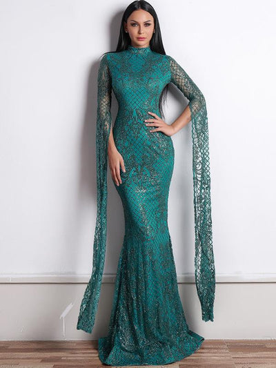 Sexy elegant women round neck long evening dresses