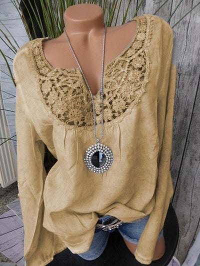 Long-sleeved V-neck Lace Patchwork Loose Blouse