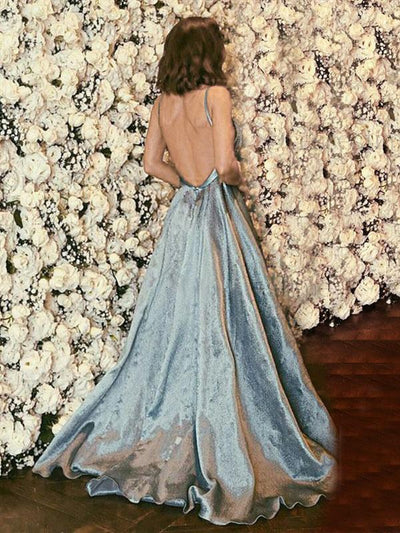 Light Blue Stain V neck Backless Woman Long Evening Dress