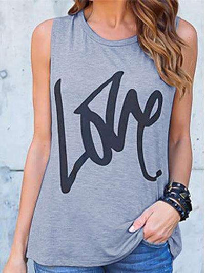 Casual Sleeveless Round Neck Printed T-Shirts