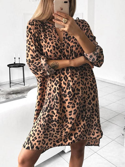v neck woman long sleeve printed leopard sexy long blouse