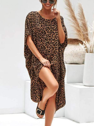 Leopard Printed Loose Shift Dresses