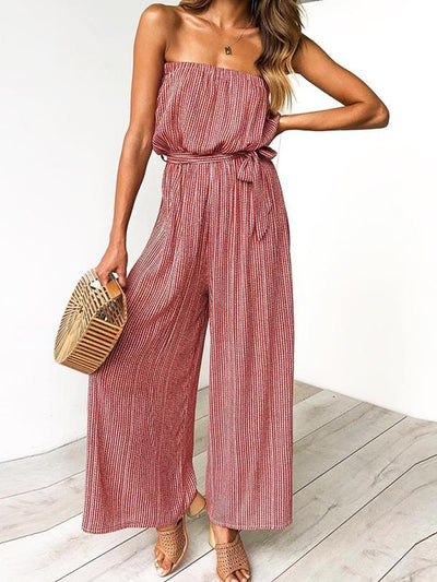 Fashion Women Stripe Open Shoulder Long Jumpsuits
