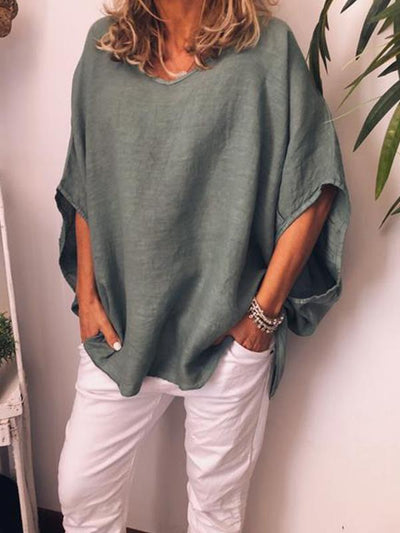 Women Plain Round Neck Bat Sleeve Half Length T-shirts