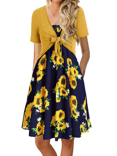 Two pieces bowknot small coat floral printed vacation dresses