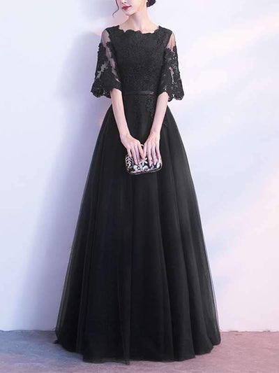 Elegant Slim Skater Long Dress Lace Evening Dresses