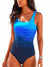 Sexy Backless One-piece Swimsuit Fashion Slim Gradient Printing Swimwear