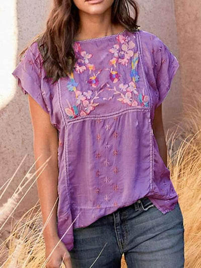 Bohemia Plain round neck Embroidered t-shirts