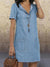 Blue Denim Short Sleeve Casual Pockets Solid Dresses