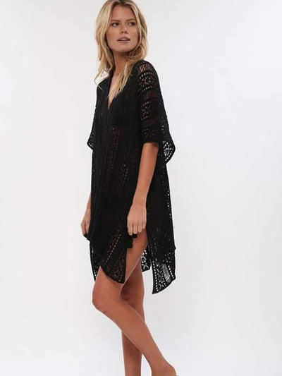 Loose Hollow Vacation Half Sleeve V Neck Beach Cover-Ups Vacation Dresses
