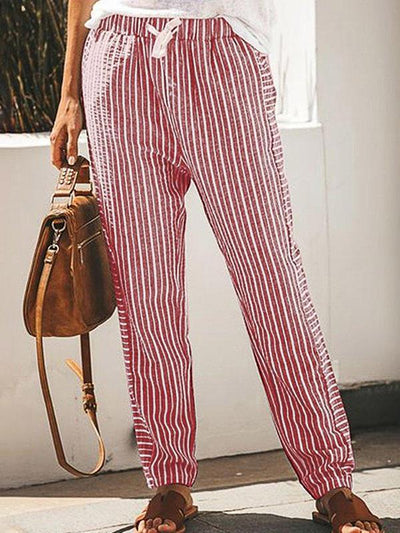 Casual Striped long fashion loose waist pants