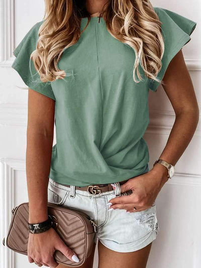 Plain round neck short sleeve falbala sleeve T-shirts