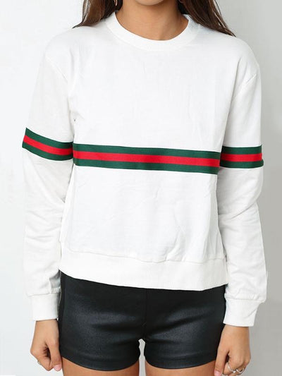 Casual Round Neck Striped Sweatshirts For Woman