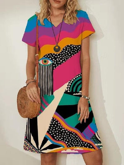 Fashion V-neck Printed Short Sleeve Abstract Dresses