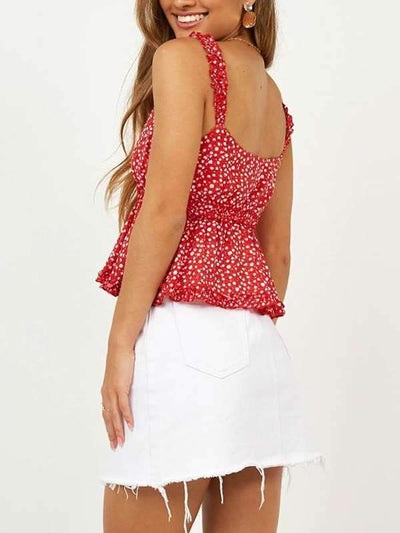 Sexy V-neck flower printed flounce edge condole belt vest tops