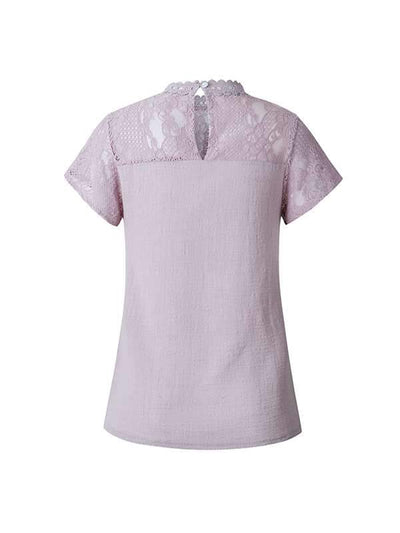 Casual sweet floral cutout lace short sleeve round neck T-shirt
