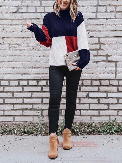 Color Blocking High Collar Warm Long Sleeve Woman Sweater