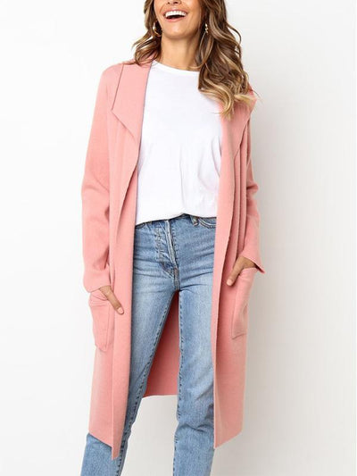 Pink Pure Color Lapel with Pocket Long Style Cardigan Woolen Coat for Women