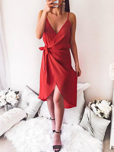 Sexy V neck Strapless Skater Tie Dress