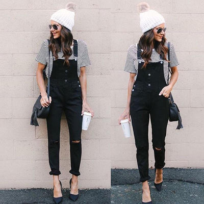 Fashion Plain Denim Pocket Holes Jumpsuits