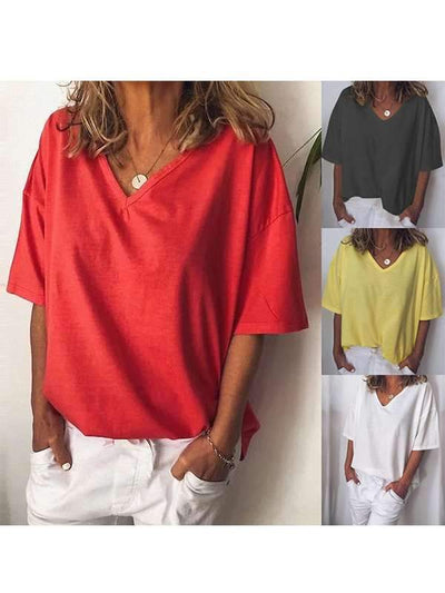 Loose Casual Plus Size Women V CollarPlain T-shirts