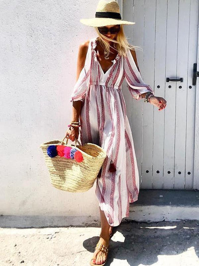 Fashion Printed floral ear v-neck off shoulder maxi vacation dresses