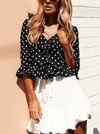 Women Fashion V neck Chic Three quarter sleeve Polka Dot Blouses