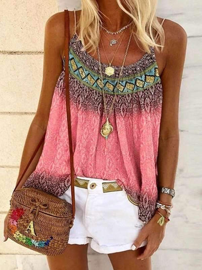 Casual fashion halter vest loose beach printed T-shirts