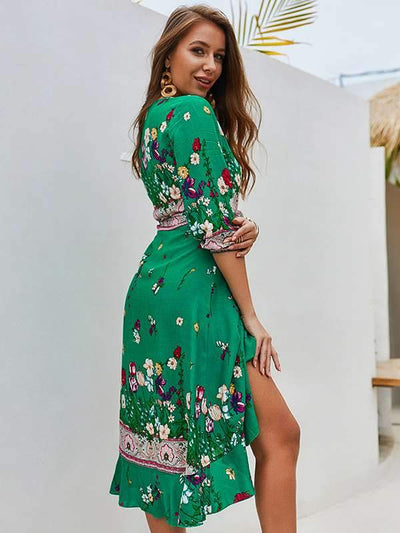 Bohemia Women Summer Floral Printed Chiffon Vacation Dresses