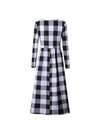 Fashion Round Collar Square Long Sleeve Maxi Dress