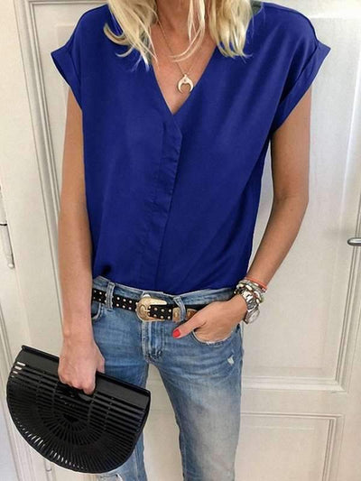 Elegant Daily V Neck Plain Blouses