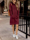 Wine Hooded Pocket Woman Hoodeies