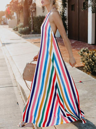Woman Rainbow Colorful Stripe Backless Vacation Dresses
