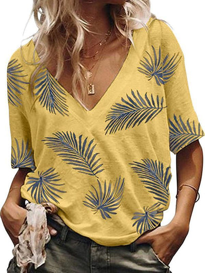 Daily Leaves Printed V neck Women Short Sleeve T-shirts