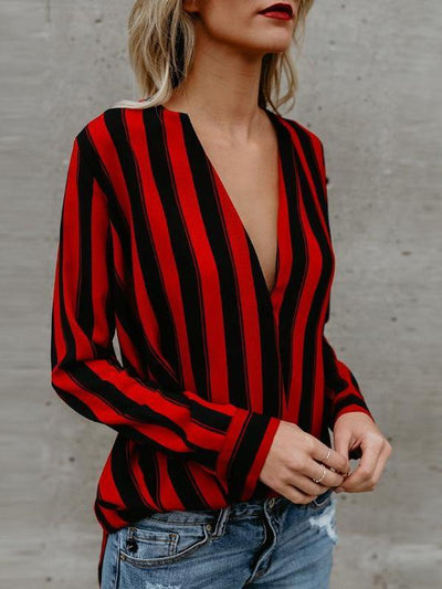 New Fashion Stripe Women Blouses
