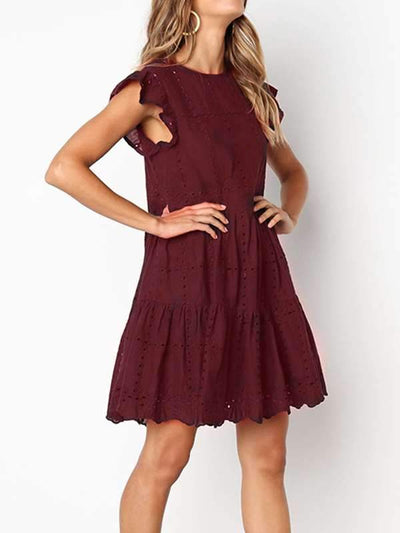Round Neck Cutout Casual Shift Dresses
