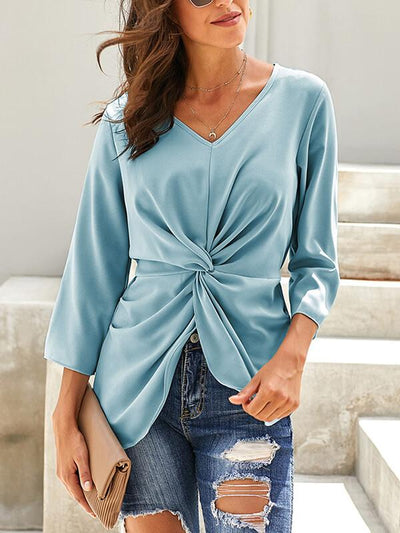 Loose  v-neck long sleeve chic Plain T-shirts