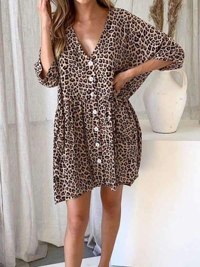 Loose leopard print slim v-neck Women Shift Dresses