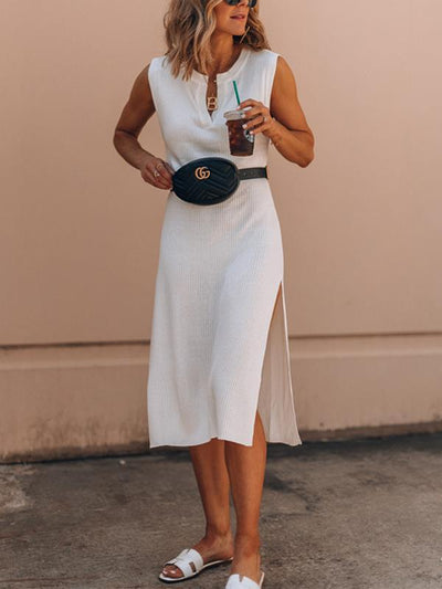 White Women V neck Sleeveless Maxi Dresses