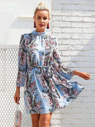 Sexy Print Mandarin sleeve Backless Lacing Shift Dresses