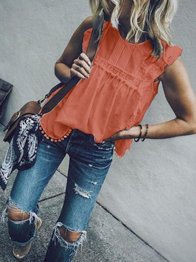 Women Chic Fashion Plain Lace Round Neck Sleeveless T-shirts